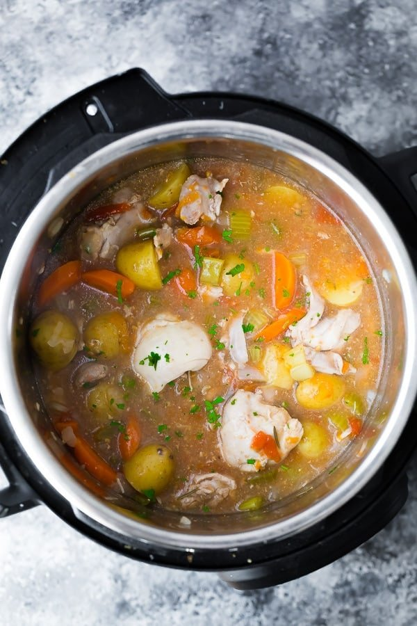 Instant Pot Tuscan Chicken Stew in the pot