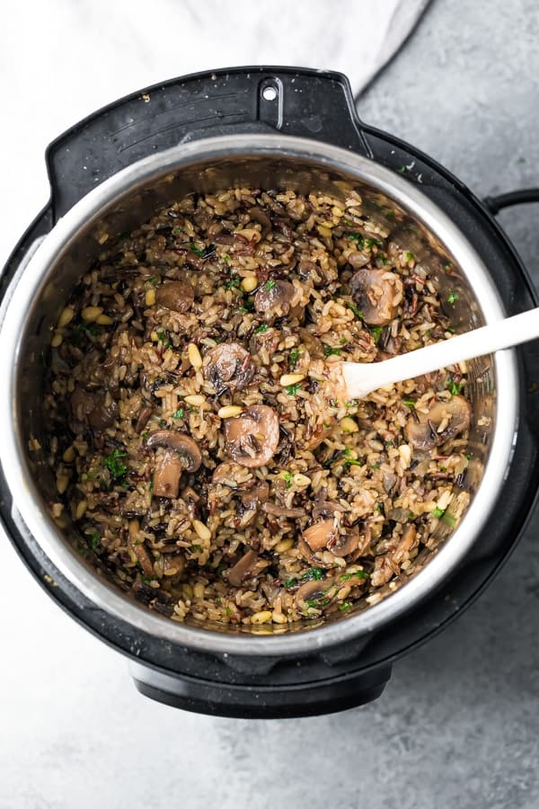 Instant Pot Wild Rice Mushroom Pilaf with Pine Nuts