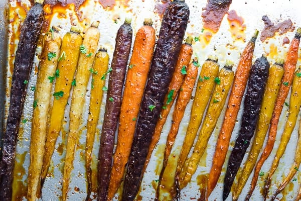 Make Ahead Honey Roasted Carrots on sheet pan after baking