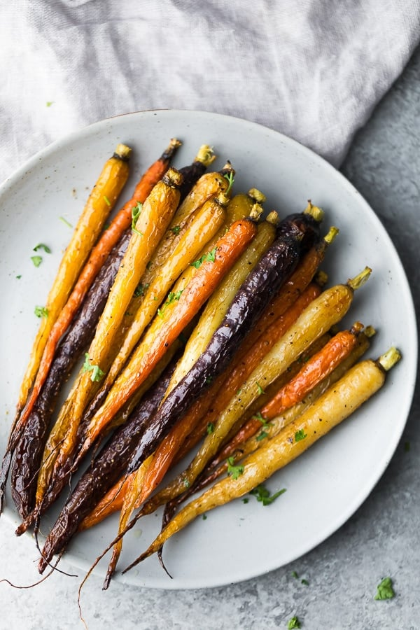 Make Ahead Honey Roasted Carrots on white plate