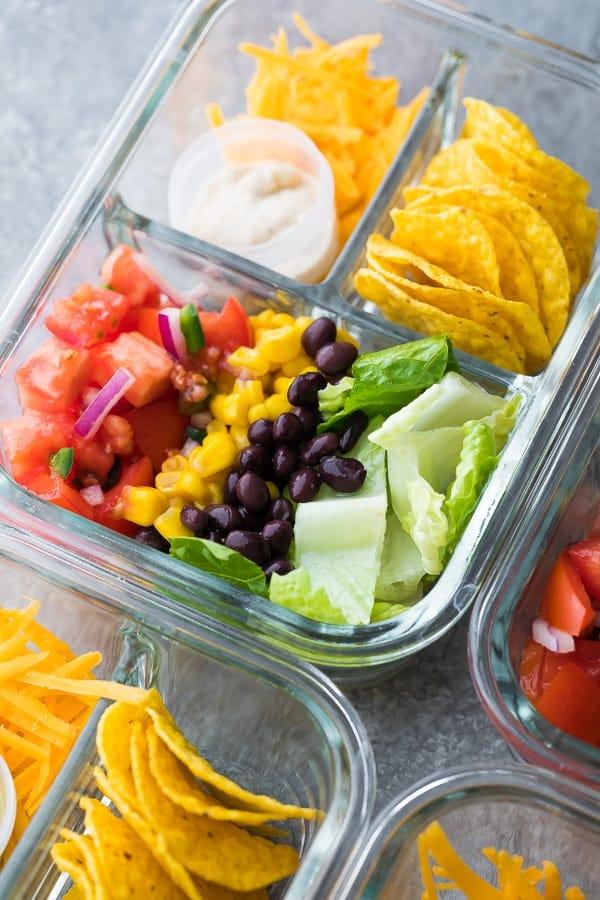 close up shot of Taco Salad in Glass Bento Box