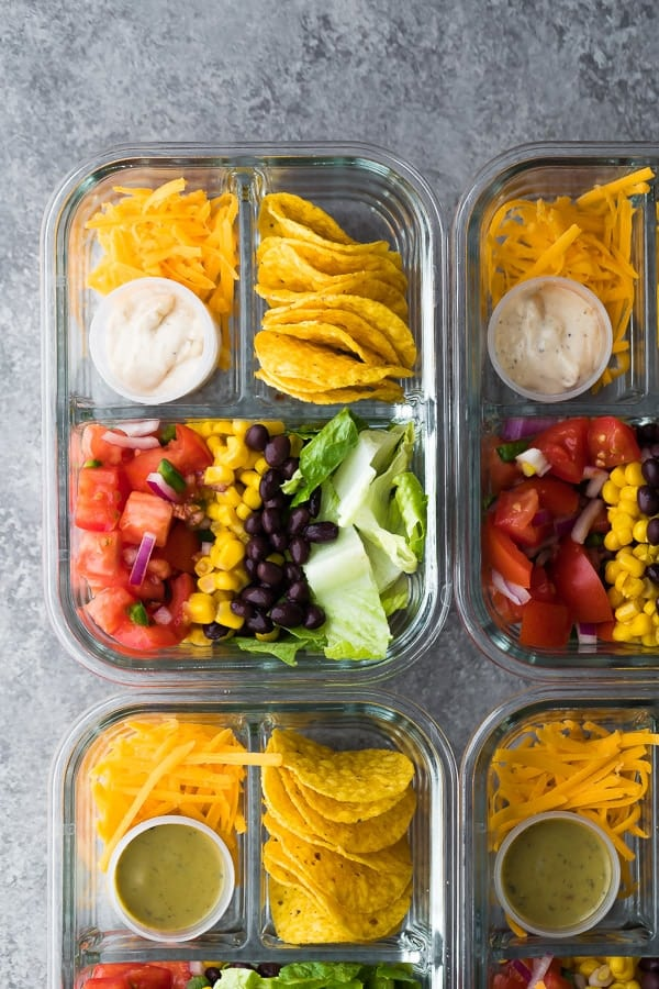 overhead view of prepnaturals 3 compartment glass meal prep containers