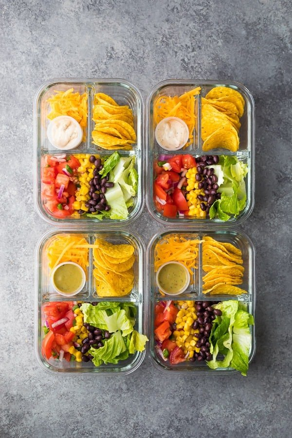 overhead shot of the taco salad bento box recipe 7 No Cook Lunch Box Recipes | Sweet Peas and Saffron