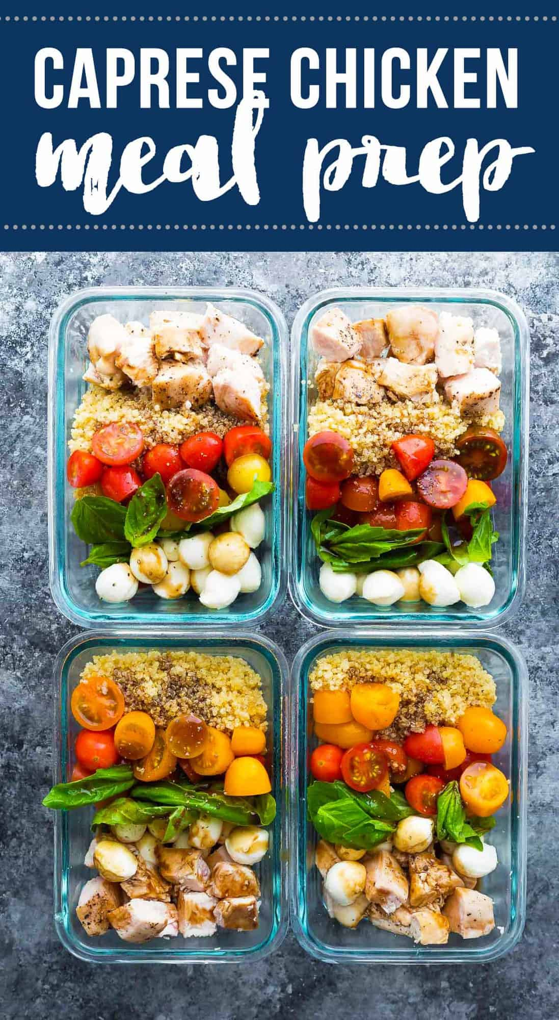 Caprese chicken salad meal prep bowls bring a dose of summer to your lunch. With baked chicken, fresh cherry tomatoes, baby bocconcini, quinoa and basil leaves all drizzled in a balsamic vinaigrette. #sweetpeasandsaffron #mealprep #salad #chicken #quinoa