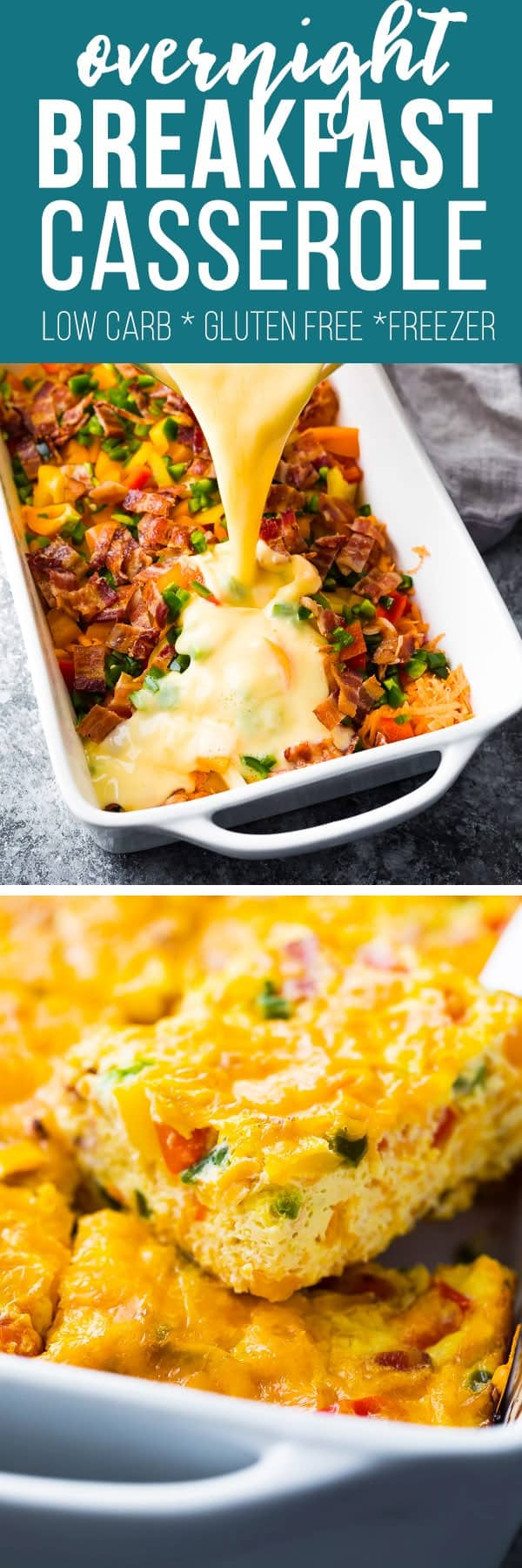 Overnight breakfast casserole with bacon and sweet potato is a healthy, hearty breakfast for a crowd! Assemble it the night before, refrigerate, then bake it up in the morning. Gluten-free and lower in carbs.