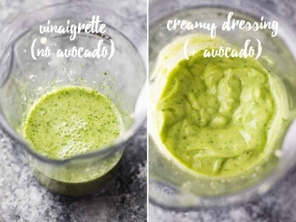 collage image before and after adding the avocado to the dressing