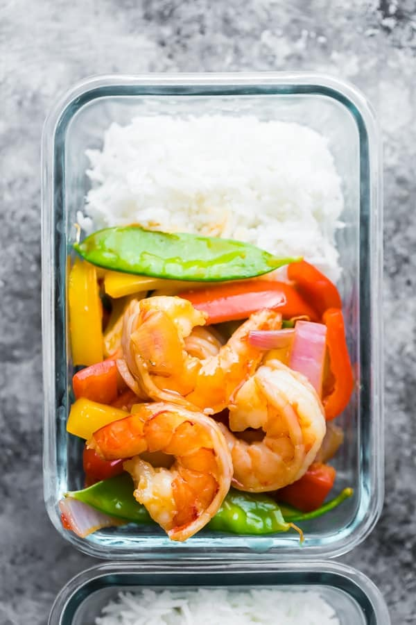 Easy Sweet Chili Shrimp Stir Fry Meal Prep Bowls