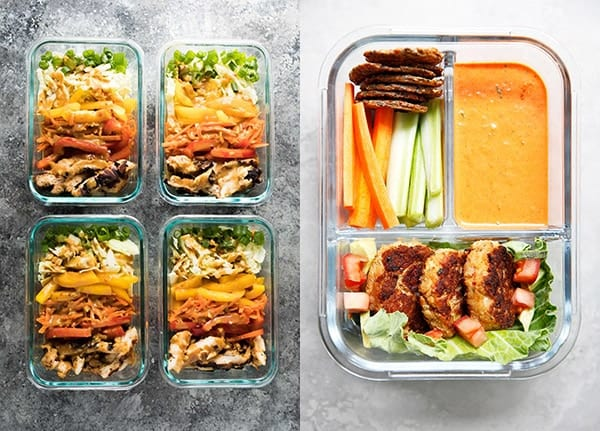 collage image with two of the 28+ Gluten-Free Meal Prep Recipes