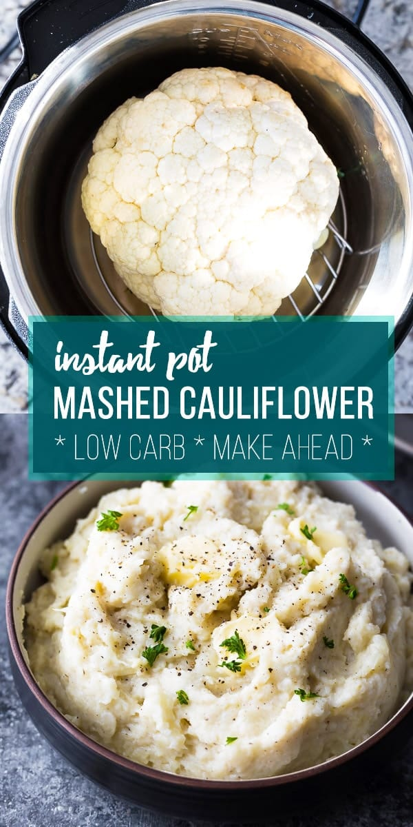 Creamy Parmesan Instant Pot mashed cauliflower is a healthier, low carb alternative to mashed potatoes. Prep it in the Instant Pot for an easy holiday side dish. #sweetpeasandsaffron #instantpot #lowcarb #cauliflower #easter #thanksgiving #holidays #sidedish
