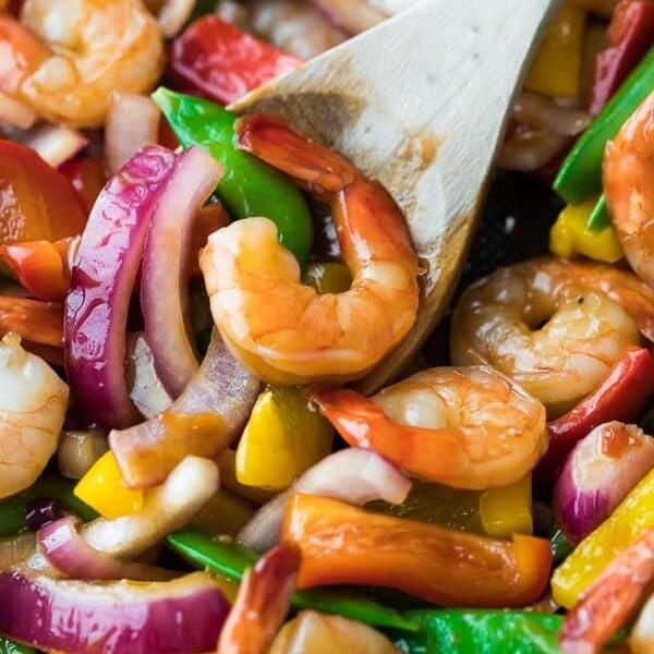 close up shot of sweet chili shrimp stir fry