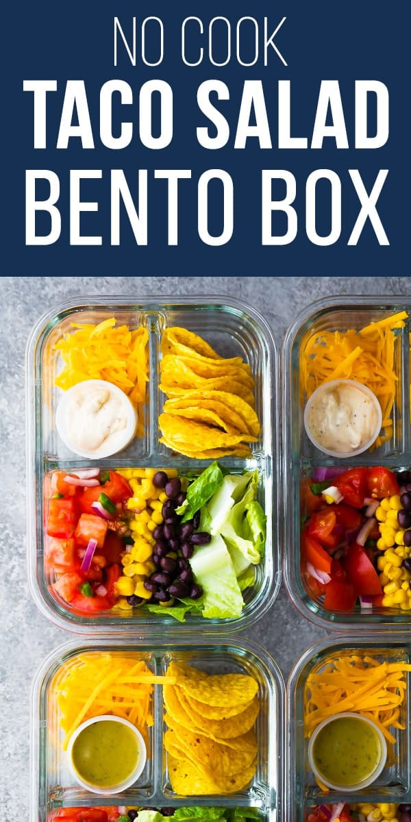 This no cook taco salad bento box recipe is ready for your lunch in under 20 minutes! A great meal prep lunch option when you're too busy. Glass bento box containers, lunch for adults #sweetpeasandsaffron, #mealprep #bento #taco #tacosalad #salad #nocook #lunch