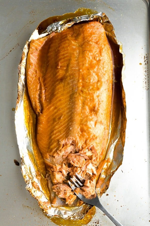maple soy sauce salmon in foil