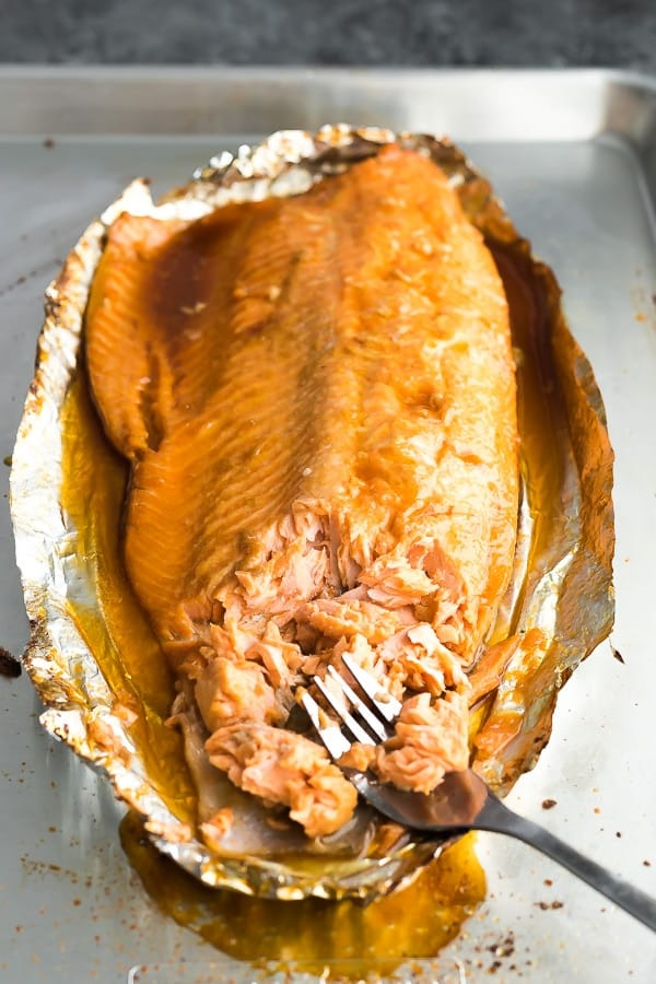 maple syrup salmon recipe in foil flaked with fork