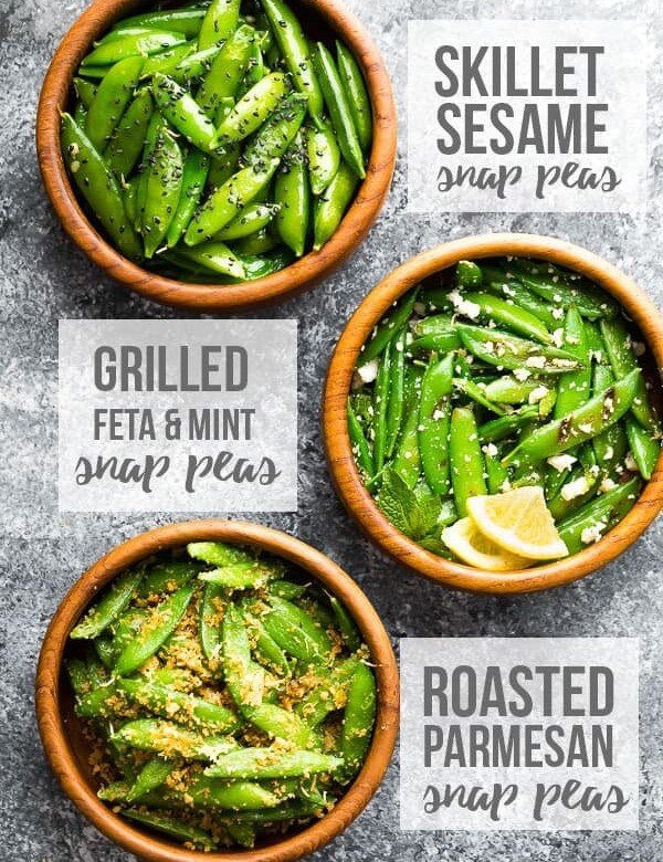 overhead shot of 3 different snap pea recipes in wood bowls
