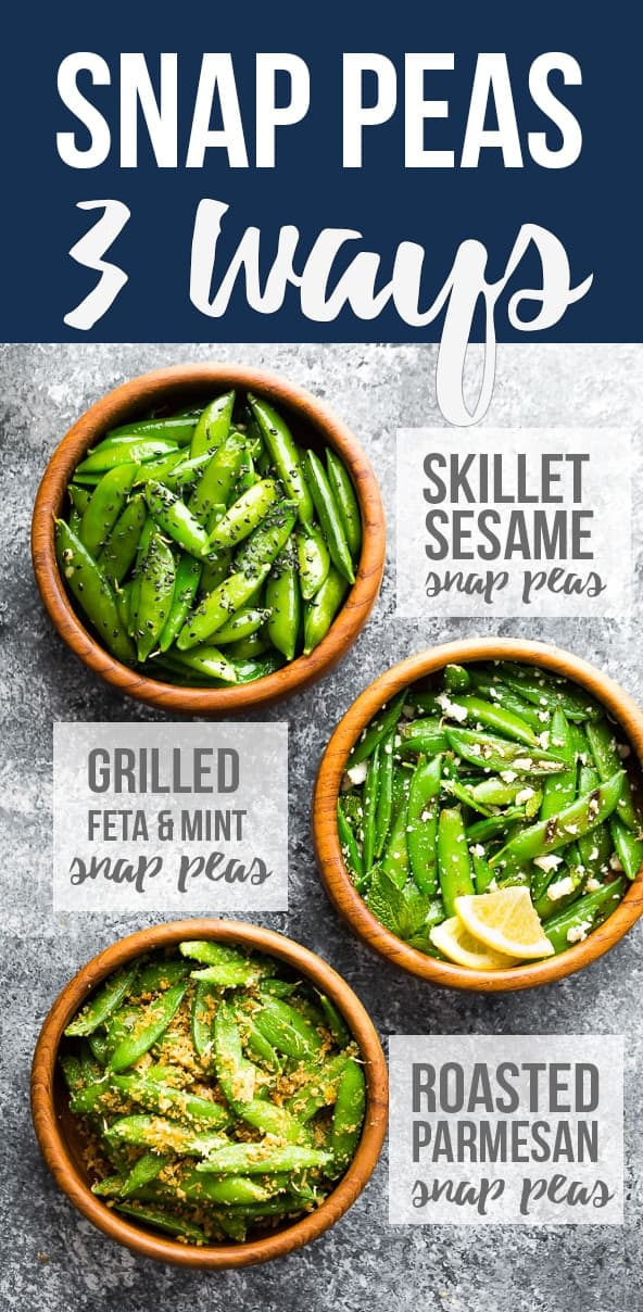 How to cook sugar snap peas- three simple recipes that can be cooked in under 10 minutes! Garlic sesame snap peas, grilled snap peas with feta and mint, and roasted snap peas with parmesan. #sponsored #sweetpeasandsaffron #snappeas #glutenfree #spring #healthyrecipes #side #snack