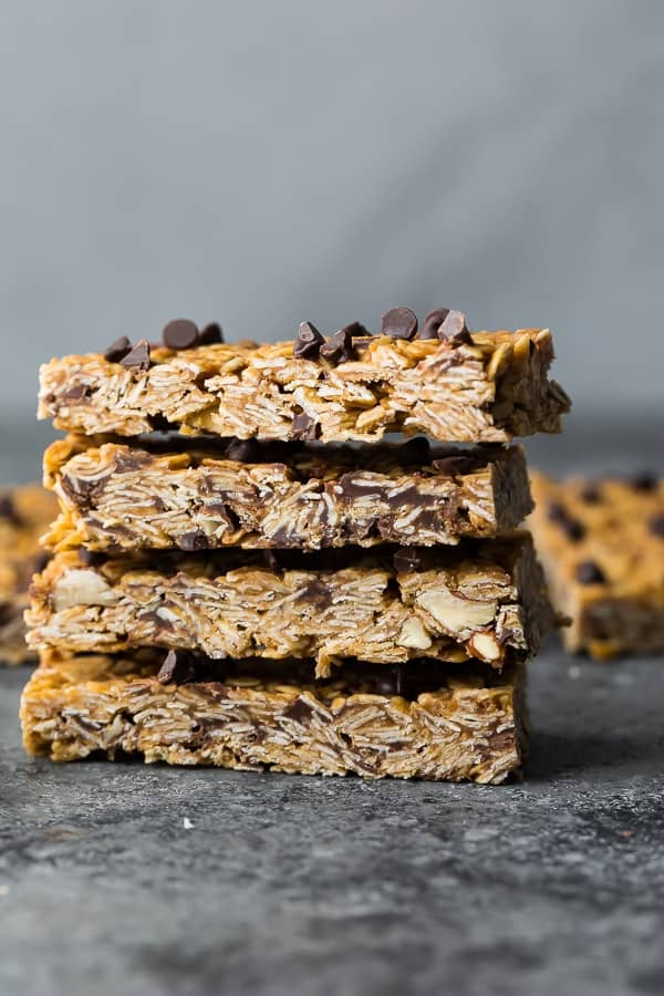 a stack of four of the peanut butter granola bar recipe