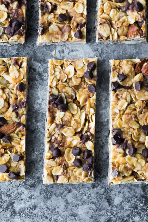 two rows of homemade peanut butter granola bars
