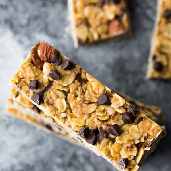 overhead shot of a stack of chewy peanut butter granola bars
