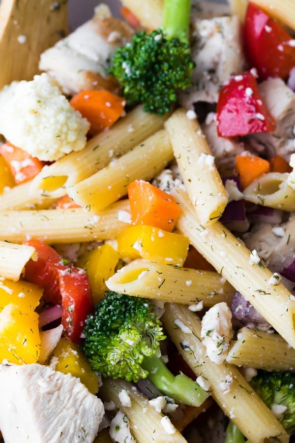 close up of easy pasta salad recipe tossed in red wine vinaigrette
