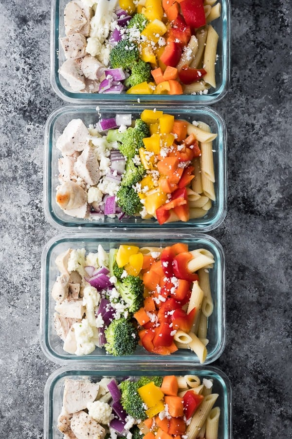 chicken pasta salad recipe in meal prep bowls