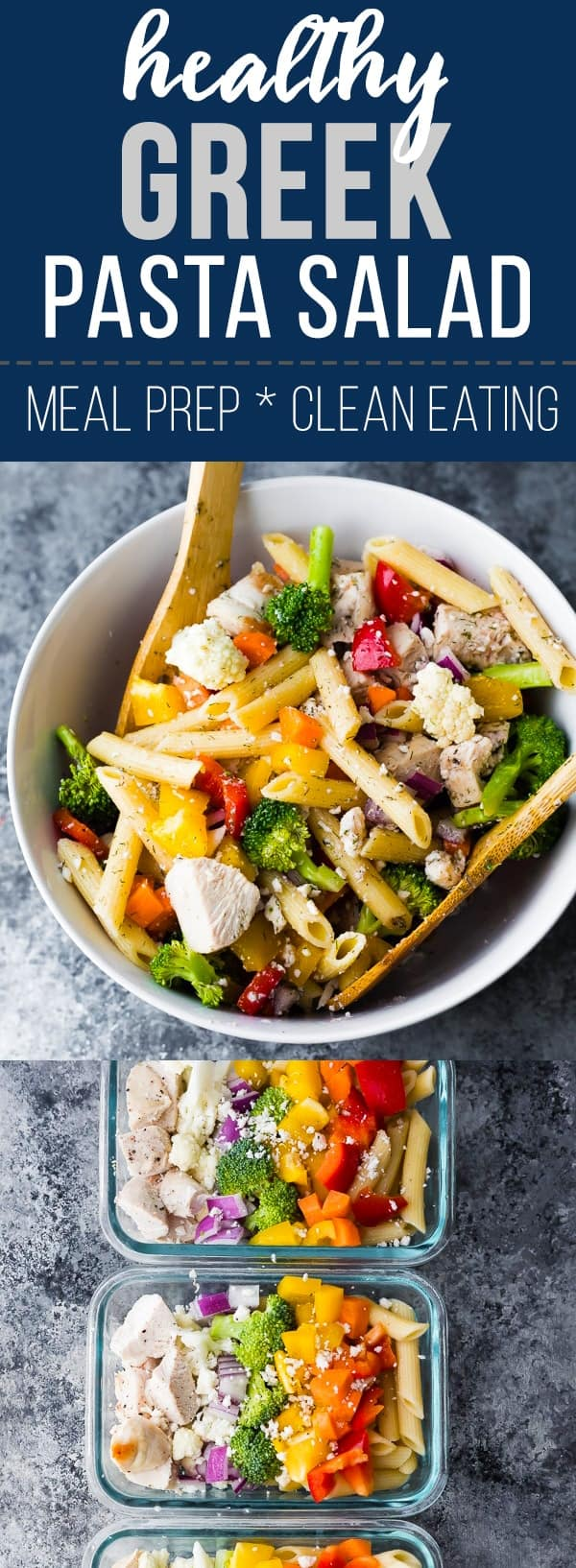 Healthy Greek chicken pasta salad recipe- whether you're heading for a picnic, a potluck, or meal prepping your lunches ahead, this salad is perfect for you! Tastes even better after the flavors marinate together for a day or two. #sweetpeasandsaffron #mealprep #pasta #pastasalad #salad #chicken