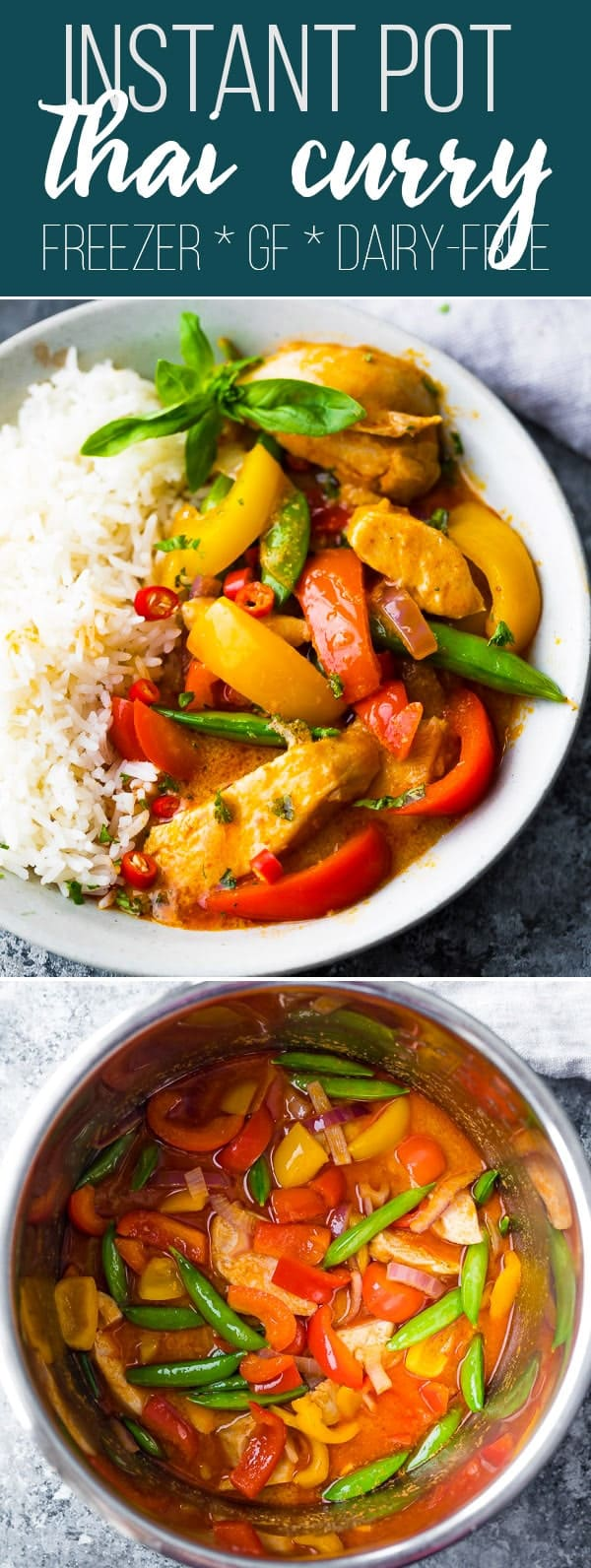 Spicy Instant Pot Thai Chicken Curry is made with creamy coconut milk and Thai red curry paste for a super flavorful (and spicy!) chicken curry. Make it in the Instant Pot and dinner is ready in under 30 minutes! #sweetpeasandsaffron #mealprep #instantpot #glutenfree #thai #curry #freezermeal