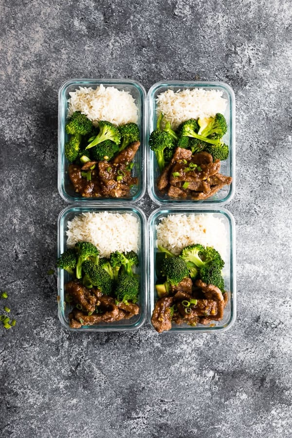 Lighter Mongolian Beef Meal Prep four meal prep containers