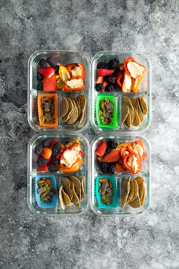 overhead shot of the vegan bento lunch box