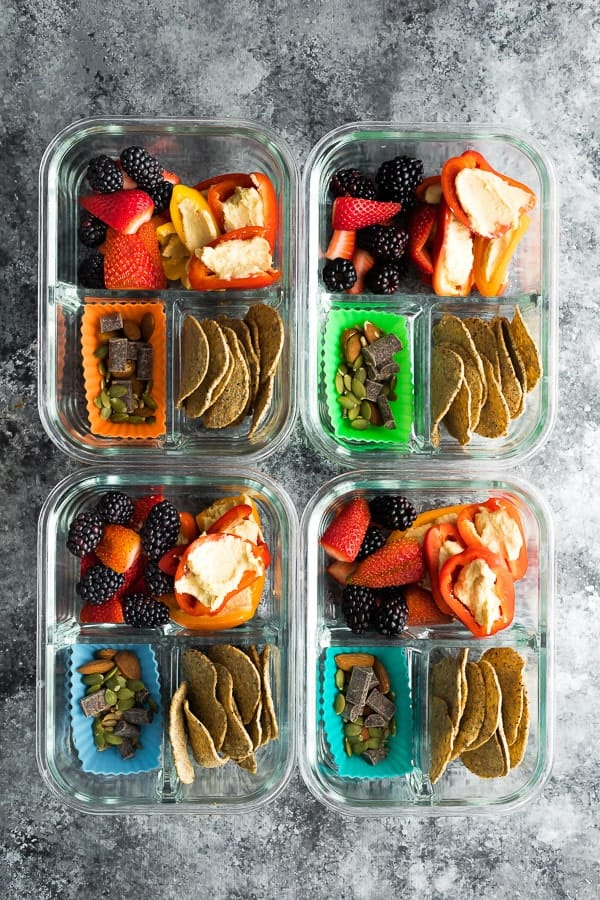No Cook Vegan Bento Snack Box in glass meal prep containers