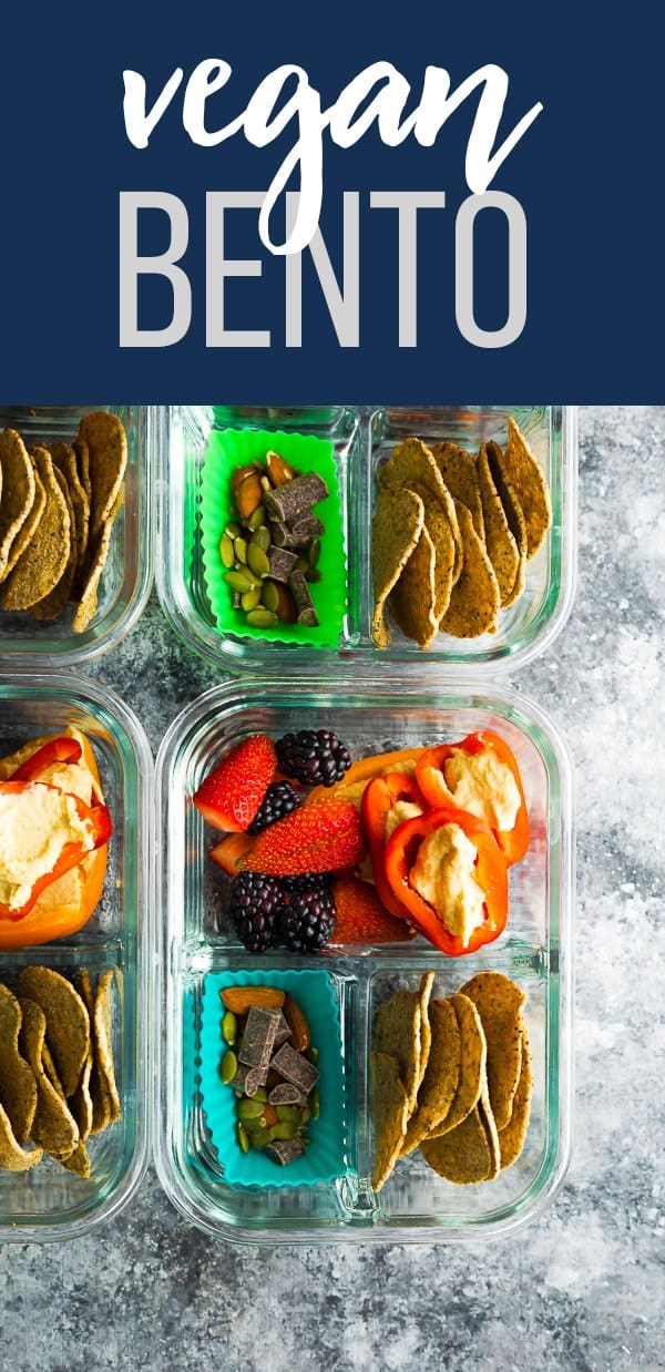 No cook vegan bento snack box recipe is an easy option to throw together to make sure your snacks are balanced and healthy! Fresh berries, hummus-stuffed mini peppers, trail mix and black bean tortilla chips will fill you up with wholesome ingredients. #sweetpeasandsaffron #bento #vegan #mealprep #lunch
