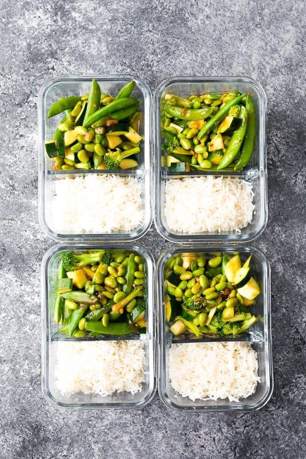 vegan teriyaki meal prep arranged two by two