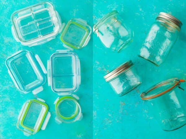 glass meal prep containers on blue background