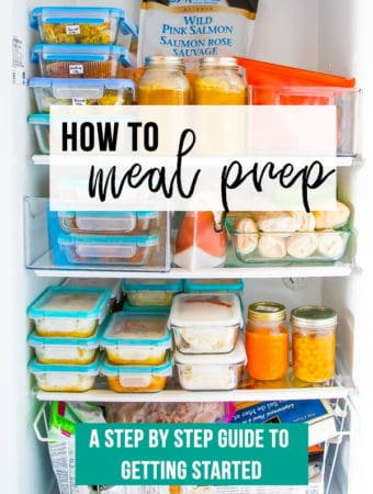 A refrigerator filled with meal prep containers and text overlay saying how to meal prep