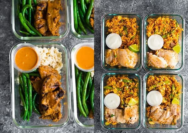 collage image of Low Carb Satay Beef Meal Prep and Low Carb Indian Chicken Skillet