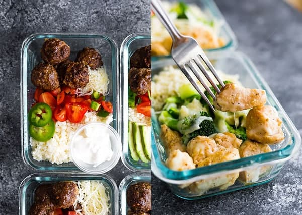 collage image of Low Carb Meatball Meal Prep and Low Carb Cheesy Chicken & Rice