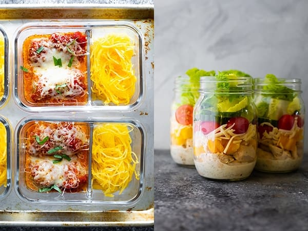 collage image of Baked Meatball Meal Prep and Ranch Chicken Jar Salads