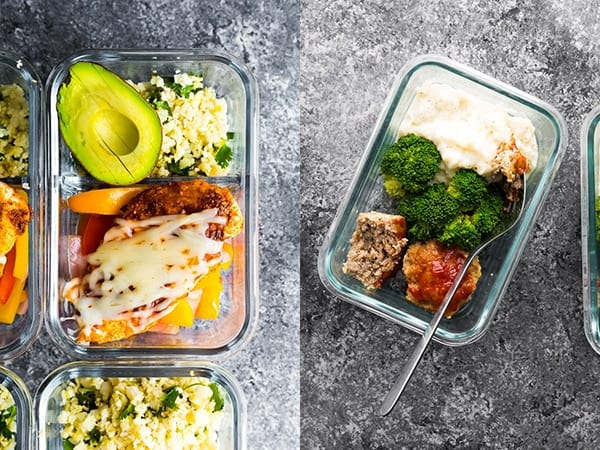 collage image of Santa Fe Low Carb Chicken Meal Prep and Low Carb Meatloaf & Cauliflower Mash