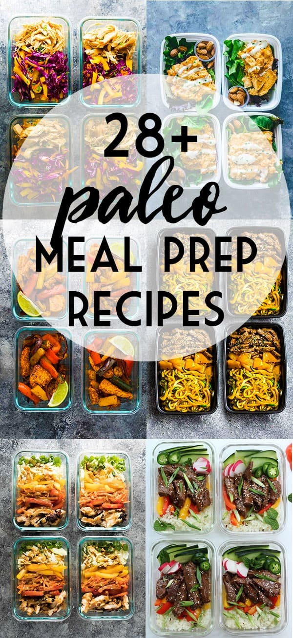 Paleo meal prep recipe ideas to save you time, money and help you keep on track with your paleo eating goals. Lots of healthy meal prep bowls that are free from grains, dairy, refined sugar and legumes. #sweetpeasandsaffron #mealprep #paleo #lowcarb #dairyfree #sugarfree #caveman