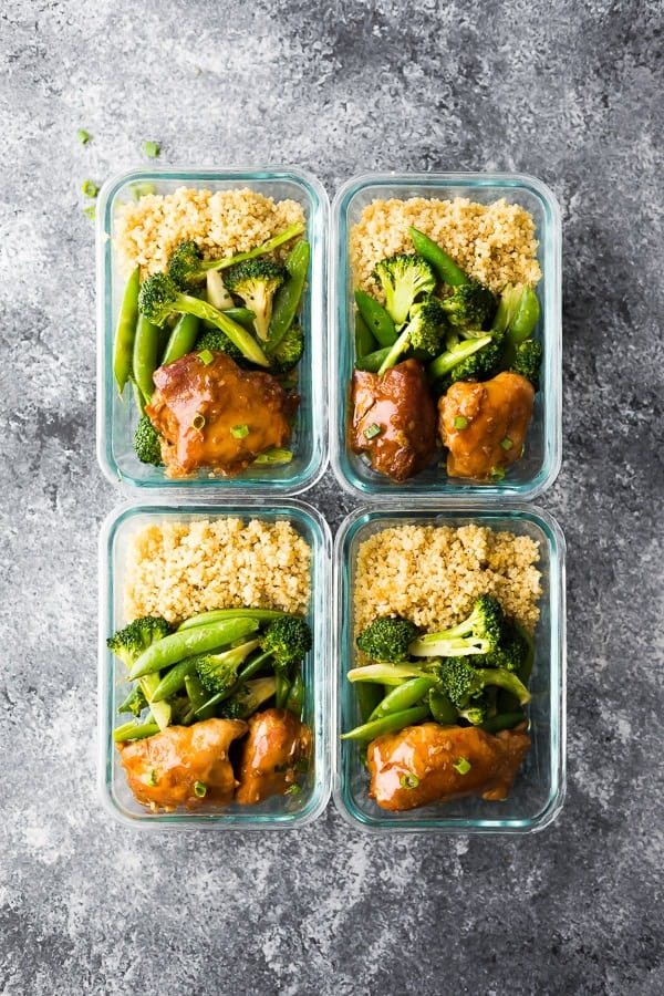 slow cooker honey garlic chicken meal prep with broccoli and quinoa