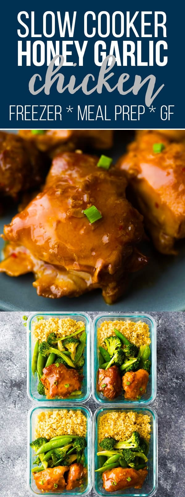 Sticky slow cooker honey garlic chicken thighs are simple to throw together and have a deliciously sticky sweet and savory sauce that is perfect for spooning over rice and vegetables. Perfect as a weeknight dinner or meal prep recipe. Crock pot honey garlic chicken, paleo honey garlic chicken, gluten-free honey garlic chicken, meal prep honey garlic chicken #sweetpeasandsaffron #mealprep #slowcooker #freezerslowcooker #crockpot #freezermeal #chicken #dinner #lunch