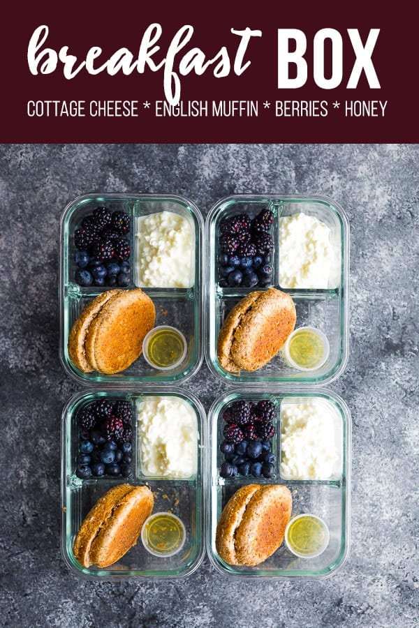 English muffin breakfast box is assembled in minutes and makes eating breakfast on the go healthy and delicious! With an english muffin, cottage cheese, fresh berries and a drizzle of honey. #sweetpeasandsaffron #mealprep #bento #breakfast #englishmuffin #cottagecheese #berries #honey