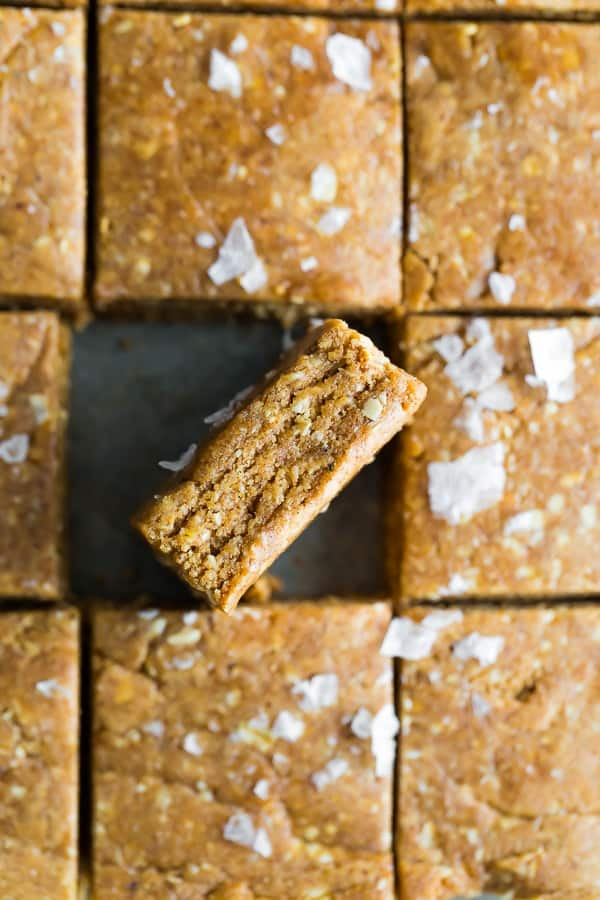Easy Homemade Protein Bars with one tilted on it's side