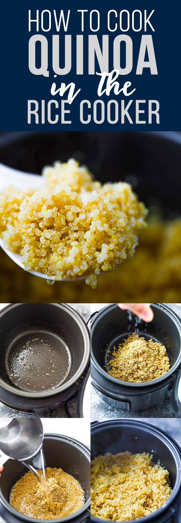 How to cook quinoa in a rice cooker- this hands off trick makes cooking quinoa even easier! Cooking quinoa in rice cooker means no more worrying about your water boiling over, and perfect fluffy quinoa every time. #sweetpeasandsaffron #howto #ricecooker #quinoa #glutenfree #mealprep