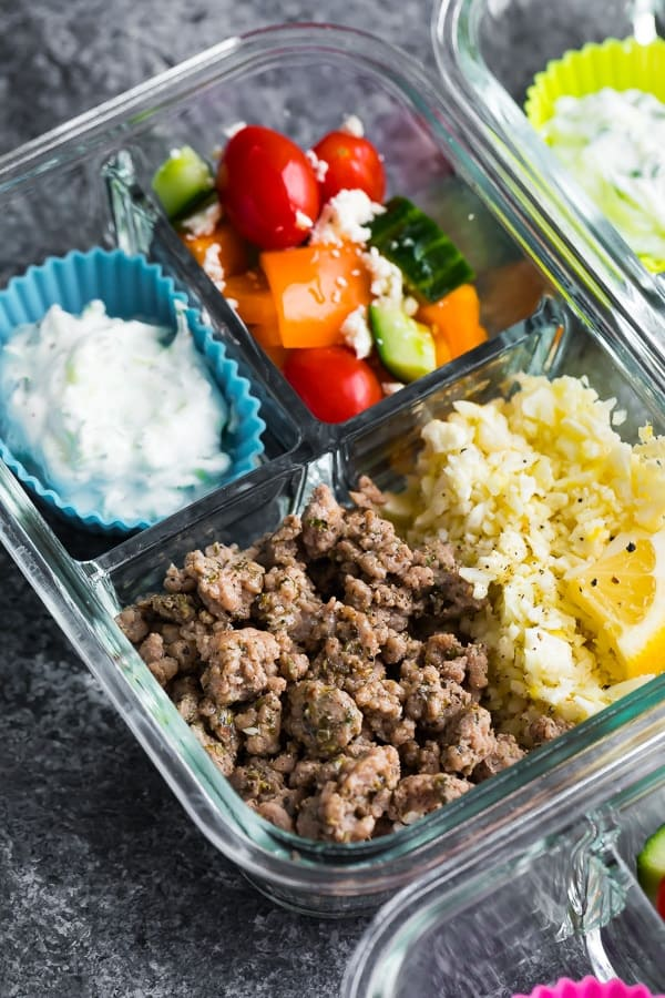 Low Carb Greek Turkey Meal Prep bowls close-up