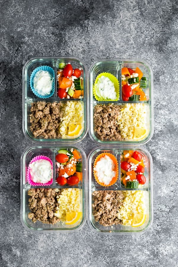 Low Carb Greek Turkey Meal Prep in four glass containers