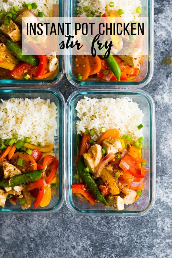 Instant Pot coconut sweet chili chicken stir fry is easily ready in under 30 minutes! Made with a few simple ingredients, you can assemble freezer packs making for easy weeknight dinners. #sweetpeasandsaffron #mealprep #instantpot #glutenfree #dairyfree #stirfry #chicken