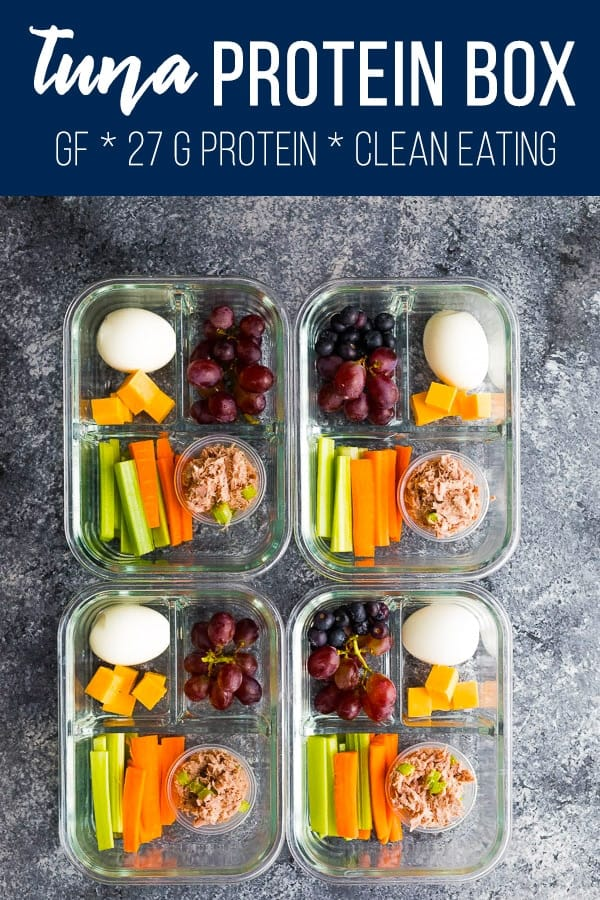 Tuna protein box is filled with protein-packed foods: tuna salad, cheese, and hard boiled eggs. Inspired by the Starbucks protein box! Ready in minutes, and perfect for delicious on the go snacks and lunches! Gluten-free, clean eating and 27 g of protein per box. #sweetpeasandsaffron #protein #starbucks #mealprep #tuna #glutenfree #snack