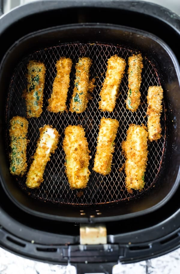 air fryer zucchini fries in the phillips air fryer basket