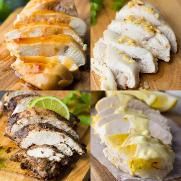 collage image with four of the 30 + Chicken Breast Recipes