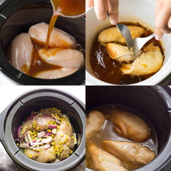 collage image with four slow cooker chicken recipes